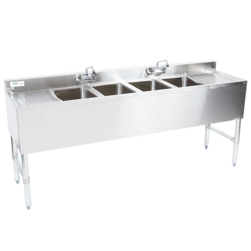 Regency 4 Bowl Underbar Sink with Two Faucets and Two Drainboards - 72 inch x 18 3/4 inch