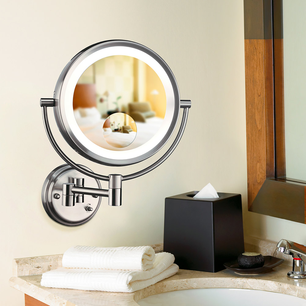 Conair be11wd wall mount mirror lighted brushed nickel image preview conair be11wd wall mount mirror amipublicfo Images