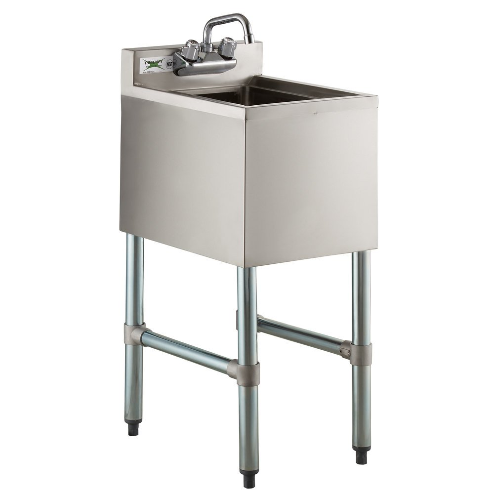 Regency 1 Bowl Underbar Hand Sink with Swivel Faucet - 14 1/2 inch x 18 3/4 inch
