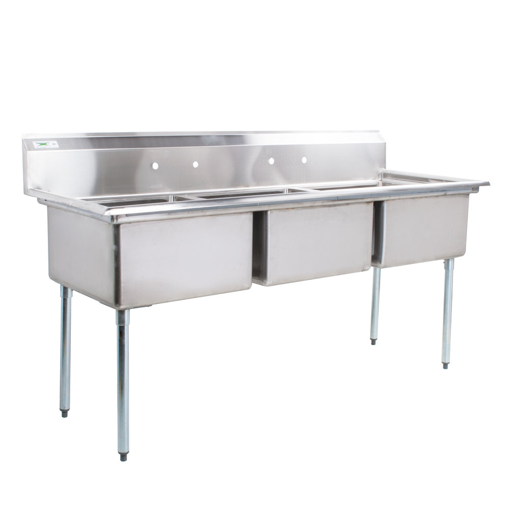 Regency 78 inch 16-Gauge Stainless Steel Three Compartment Commercial Sink without Drainboard - 23 inch x 23 inch x 12 inch Bowls