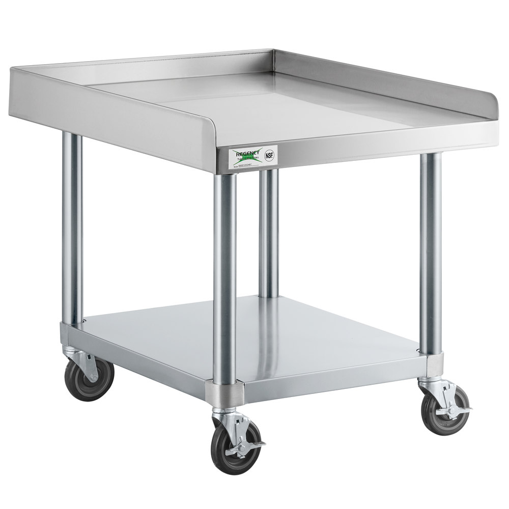 Regency 30 inch x 24 inch 16-Gauge 304 Stainless Steel Equipment Stand with Galvanized Legs, Undershelf, and Casters