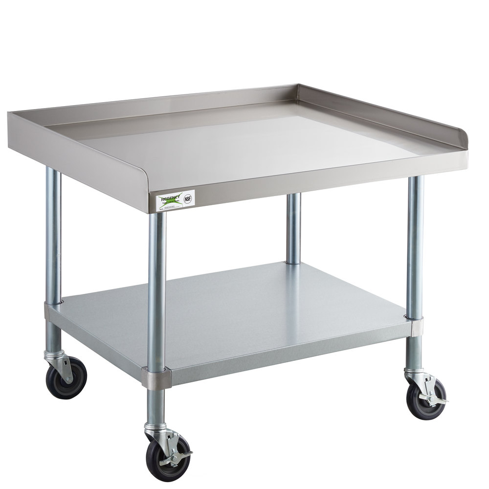 Regency 30 inch x 36 inch 16-Gauge 304 Stainless Steel Equipment Stand with Galvanized Legs, Undershelf, and Casters
