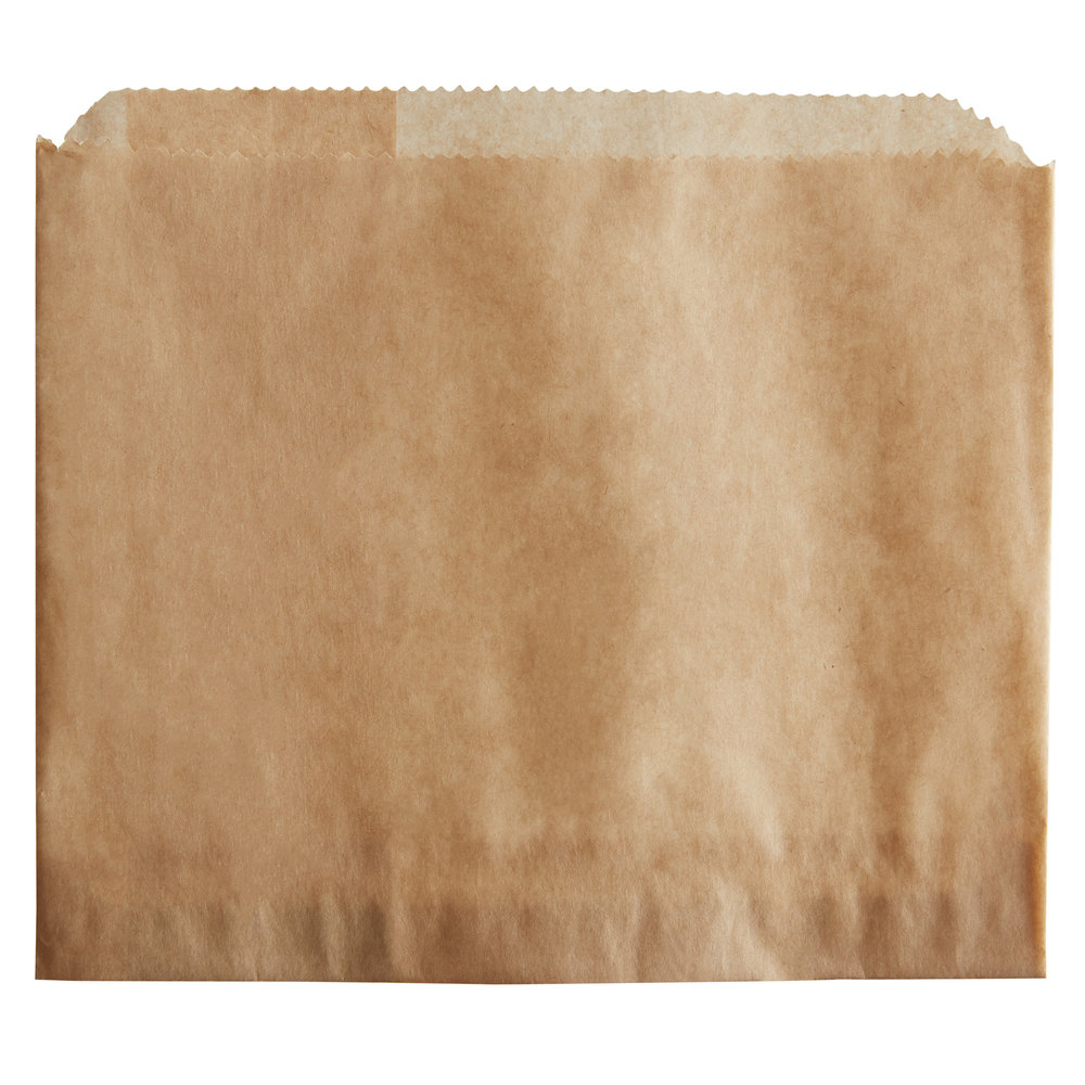Carnival King 5 1/2 inch x 4 1/2 inch Large Kraft French Fry Bag - 500/Pack