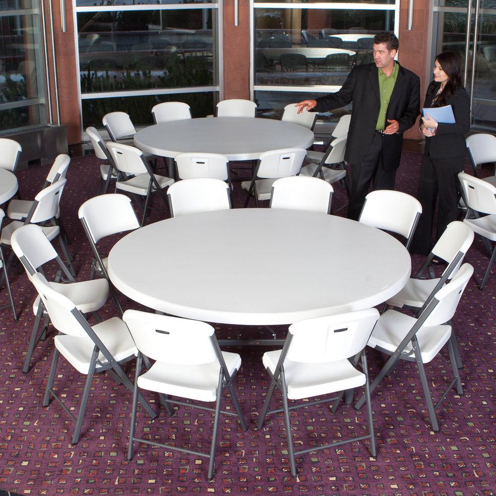 "Lifetime Round Folding Table, 72"" Plastic, White Granite"