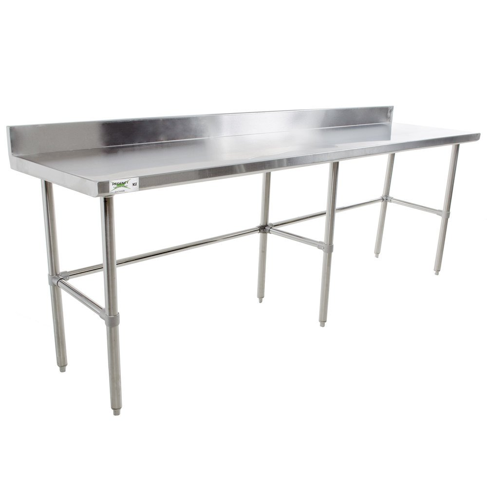 Regency 24 inch x 120 inch 16-Gauge 304 Stainless Steel Commercial Open Base Work Table with 4 inch Backsplash