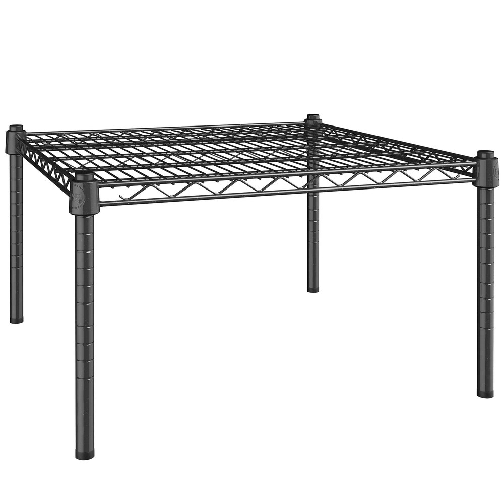 Regency 24 inch x 24 inch NSF Black Epoxy Dunnage Shelf with 14 inch Posts