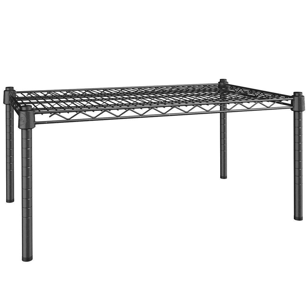 Regency 18 inch x 30 inch NSF Black Epoxy Dunnage Shelf with 14 inch Posts
