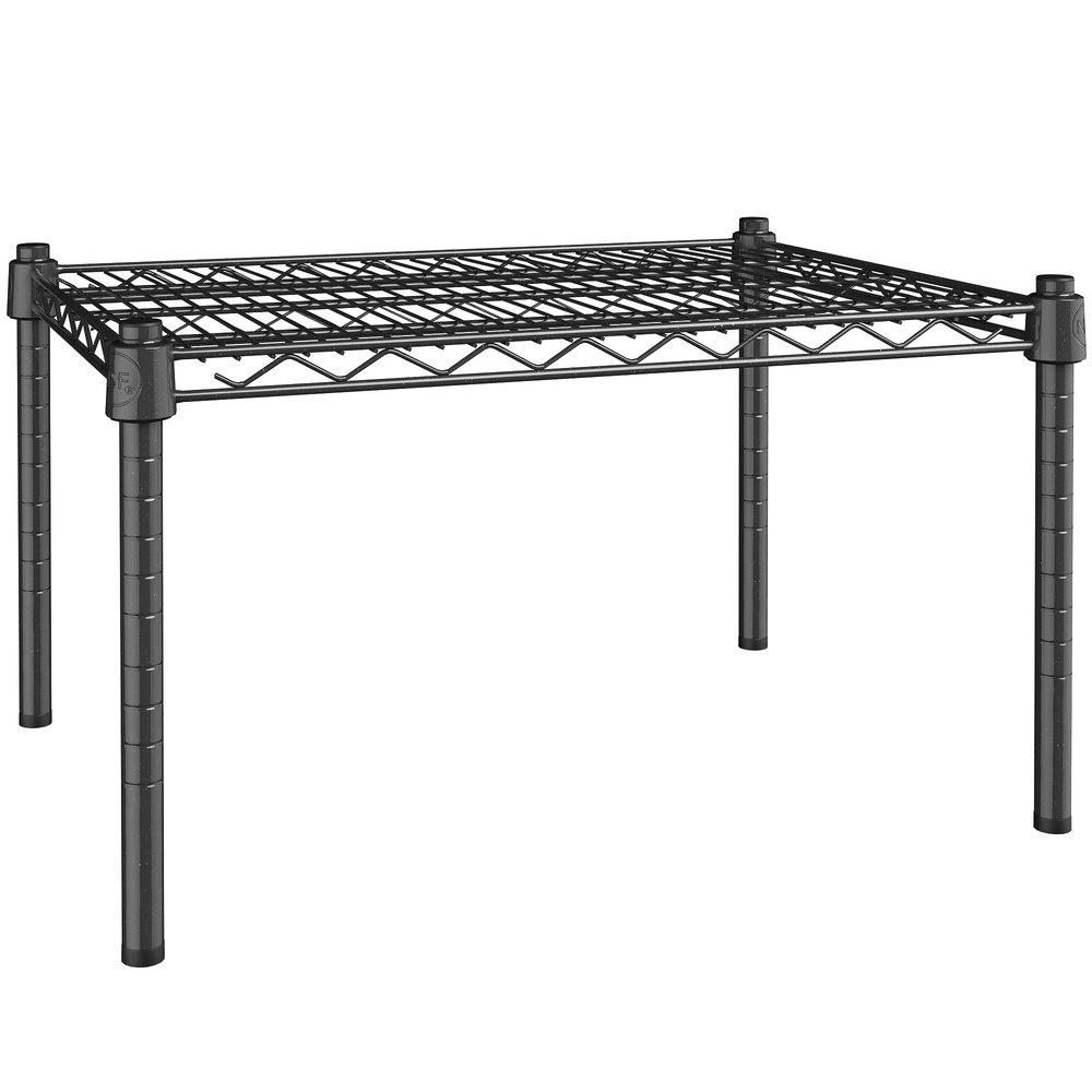 Regency 18 inch x 24 inch NSF Black Epoxy Dunnage Shelf with 14 inch Posts