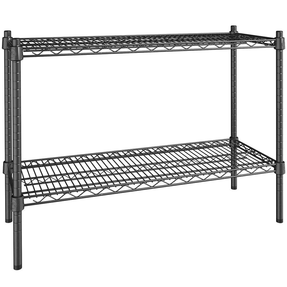 Regency 14 inch x 36 inch NSF Black Epoxy 2-Shelf Kit with 27 inch Posts