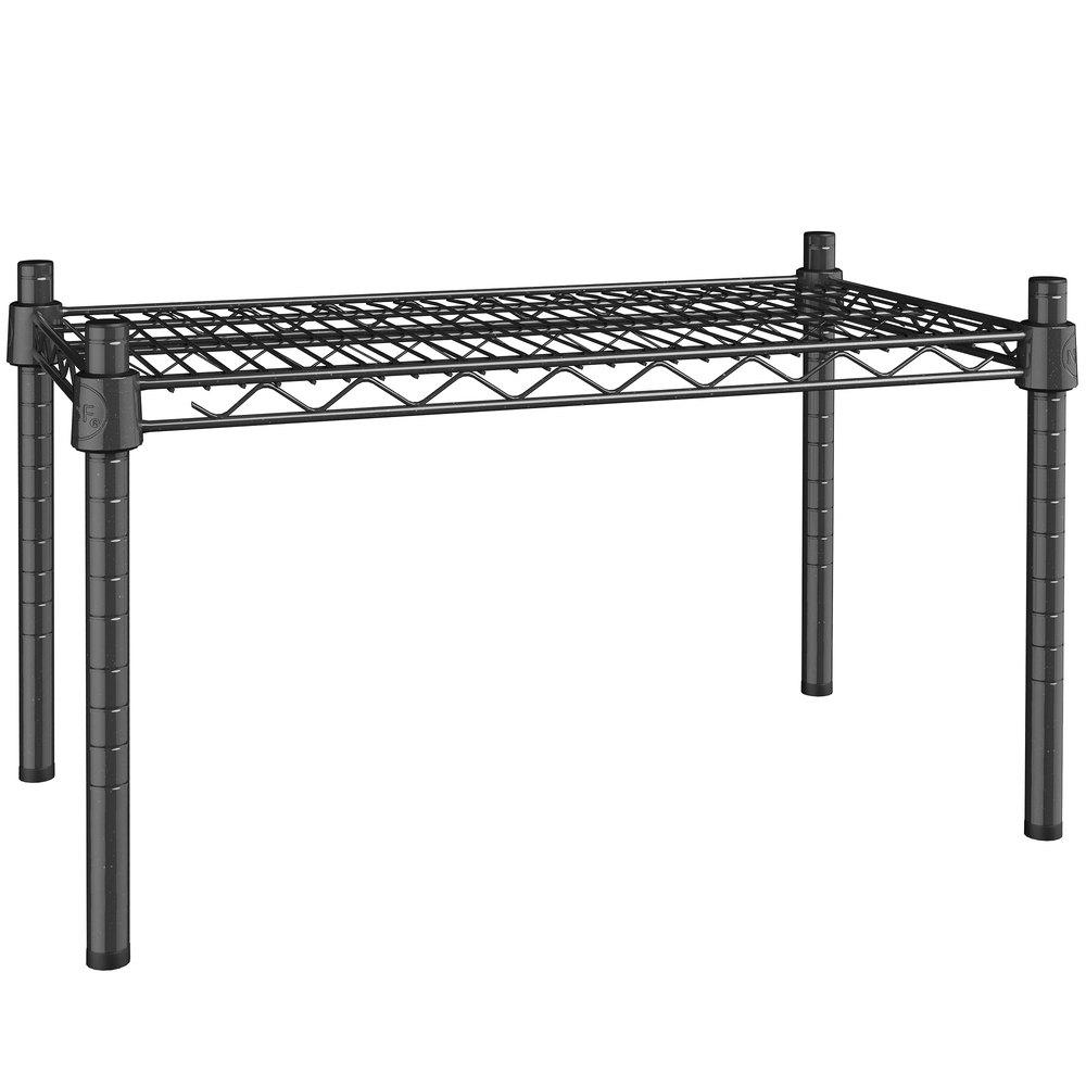 Regency 14 inch x 24 inch NSF Black Epoxy Dunnage Shelf with 14 inch Posts