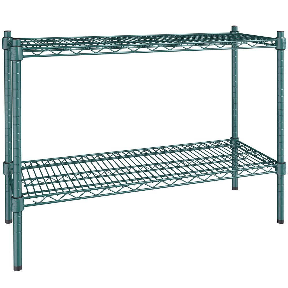 Regency 14 inch x 36 inch NSF Green Epoxy 2-Shelf Kit with 27 inch Posts