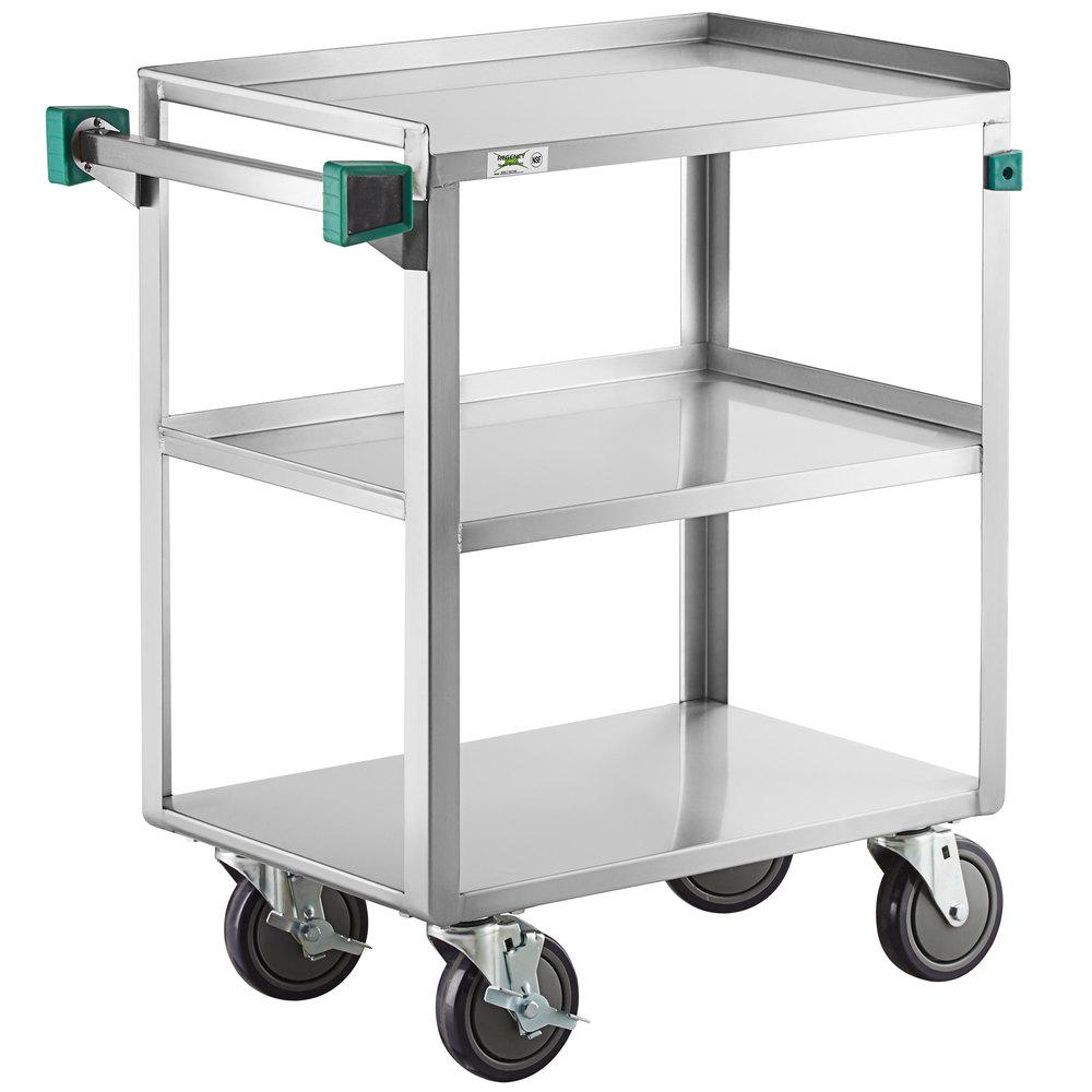 Regency 16 inch x 27 inch Three Shelf 20-Gauge Stainless Steel Utility Cart - Fully Welded