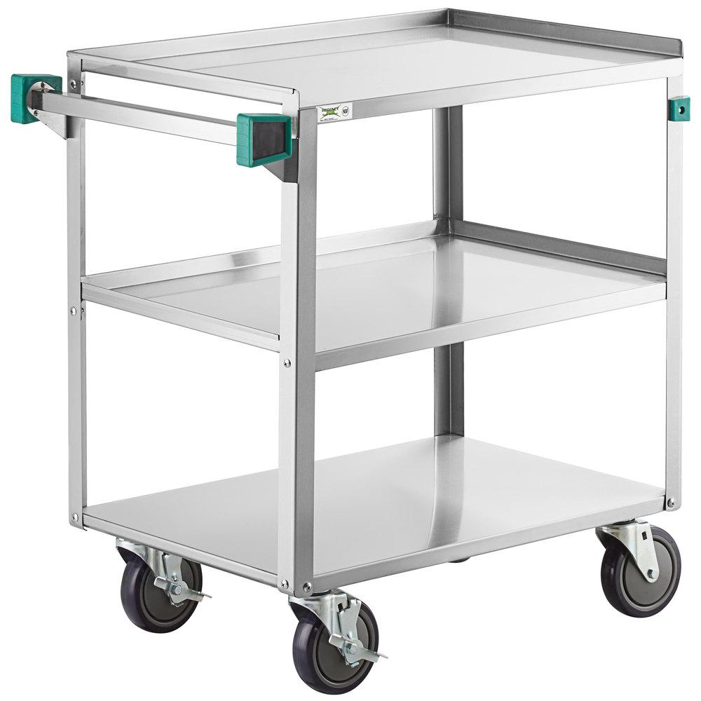 Regency 19 inch x 31 inch Three Shelf 18-Gauge Stainless Steel Utility Cart - Knocked Down