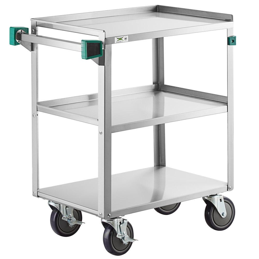 Regency 16 inch x 27 inch Three Shelf 20-Gauge Stainless Steel Utility Cart - Knocked Down