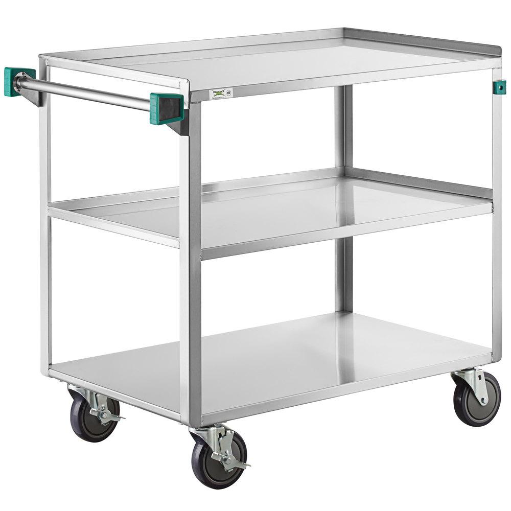 Regency 22 inch x 39 inch Three Shelf 18-Gauge Stainless Steel Utility Cart - Fully Welded