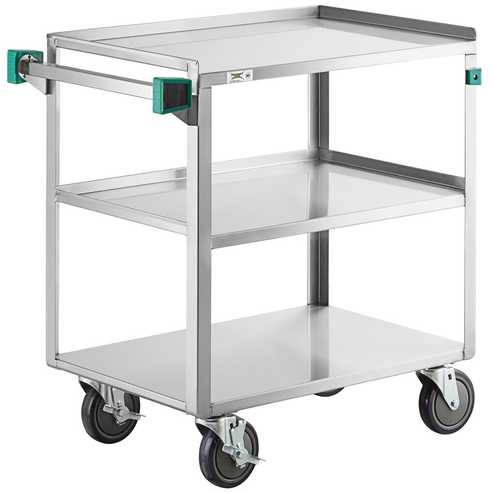 Regency 19 inch x 31 inch Three Shelf 18-Gauge Stainless Steel Utility Cart - Assembled