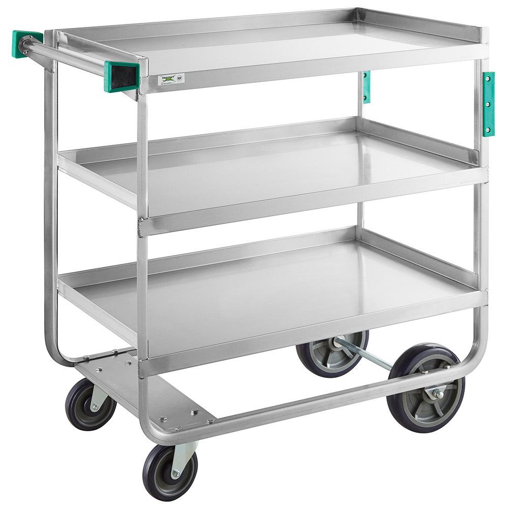 Regency 22 inch x 39 inch Three Shelf 18-Gauge Stainless Steel U-Channel Cart - Assembled