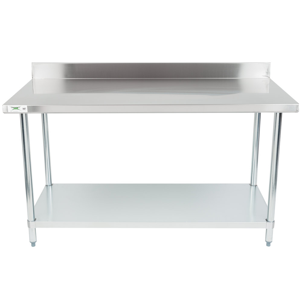 Regency 30 inch x 60 inch 18-Gauge 304 Stainless Steel Commercial Work Table with 4 inch Backsplash and Galvanized Undershelf