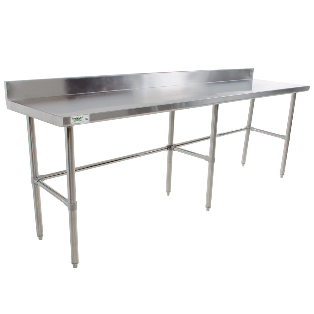 Regency 30 inch x 120 inch 16-Gauge 304 Stainless Steel Commercial Open Base Work Table with 4 inch Backsplash