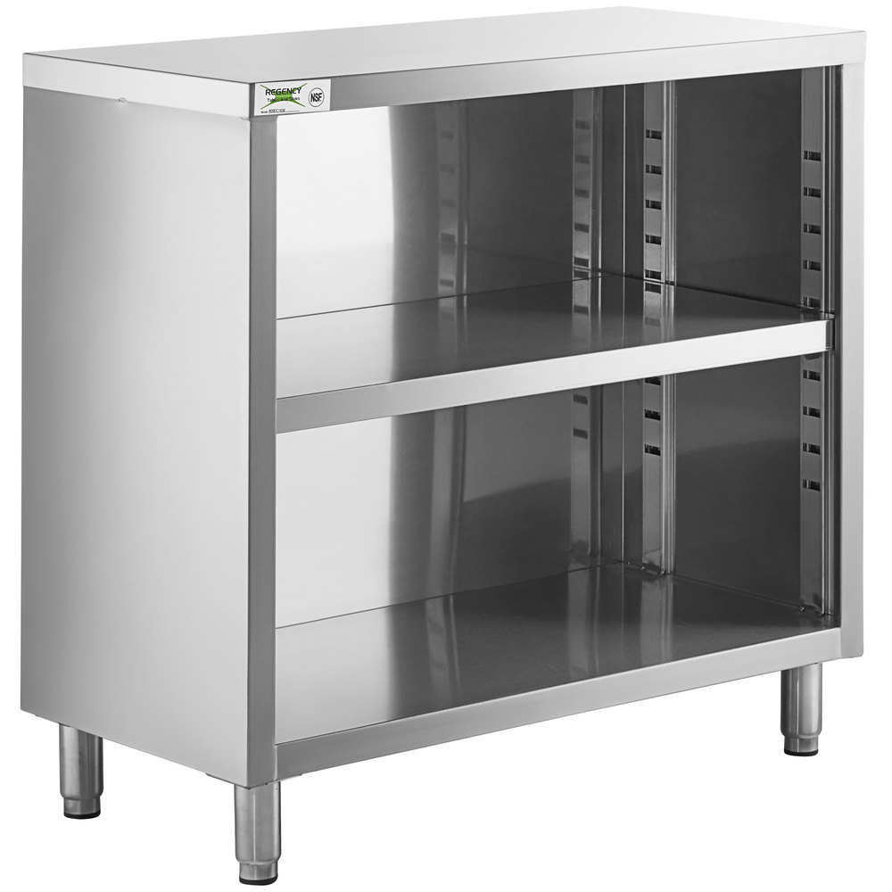 Regency 18 inch x 36 inch 18 Gauge Type 304 Stainless Steel Dish Cabinet with Adjustable Midshelf