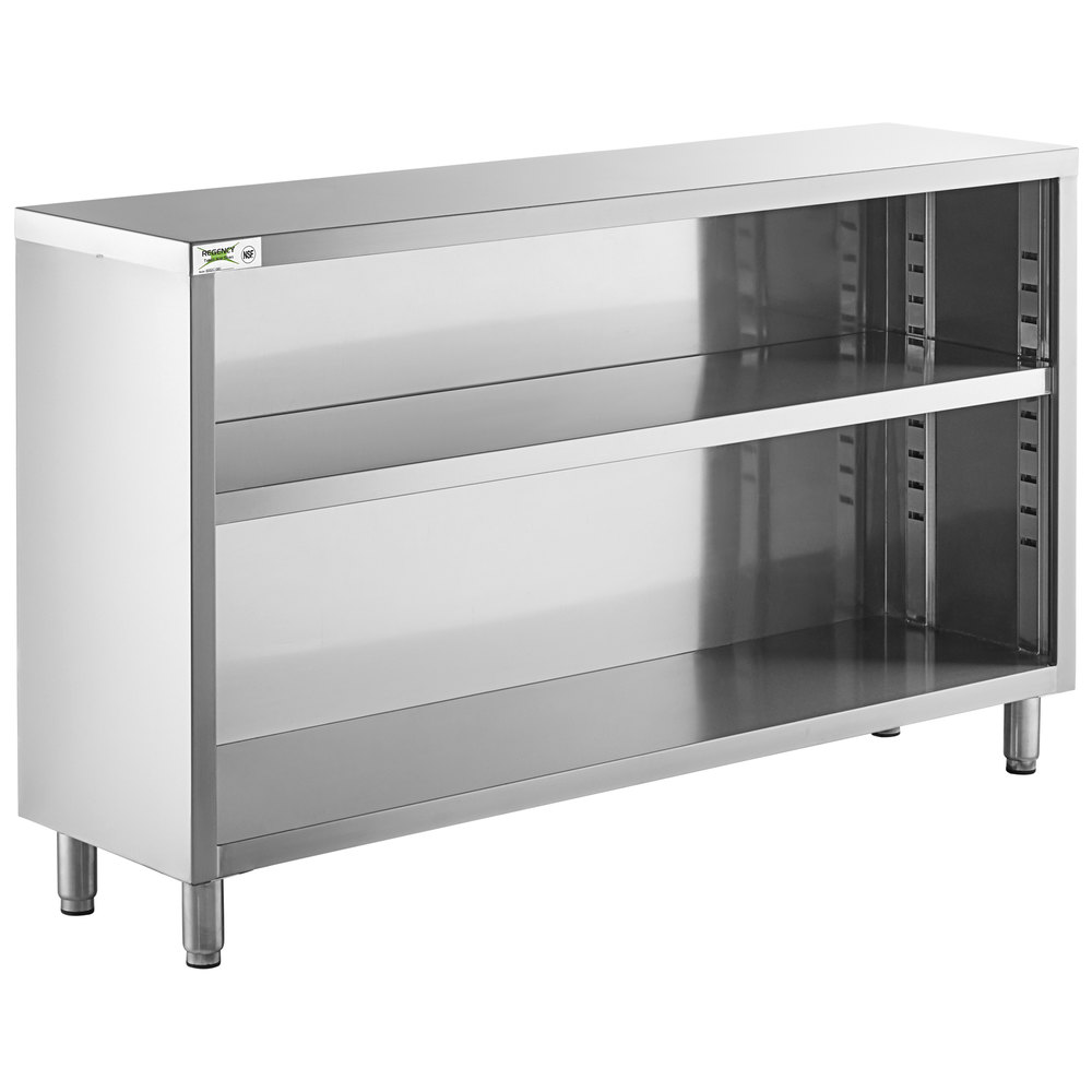 Regency 15 inch x 60 inch 18 Gauge Type 304 Stainless Steel Dish Cabinet with Adjustable Midshelf