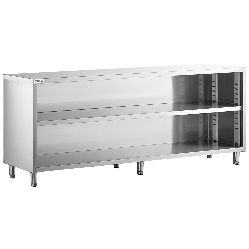 Regency 15 inch x 96 inch 18 Gauge Type 304 Stainless Steel Dish Cabinet with Adjustable Midshelf