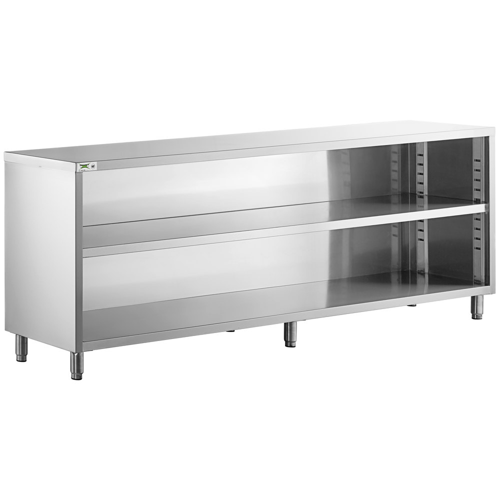 Regency 18 inch x 96 inch 18 Gauge Type 304 Stainless Steel Dish Cabinet with Adjustable Midshelf