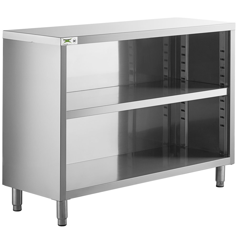 Regency 18 inch x 48 inch 18 Gauge Type 304 Stainless Steel Dish Cabinet with Adjustable Midshelf