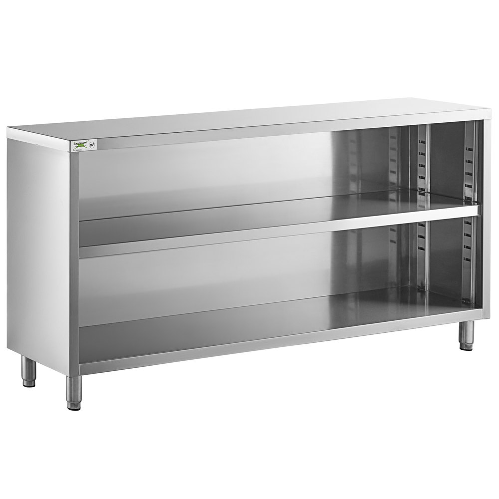 Regency 15 inch x 72 inch 18 Gauge Type 304 Stainless Steel Dish Cabinet with Adjustable Midshelf