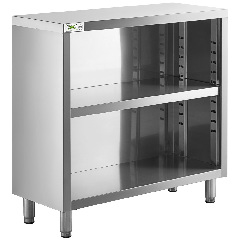Regency 15 inch x 36 inch 18 Gauge Type 304 Stainless Steel Dish Cabinet with Adjustable Midshelf