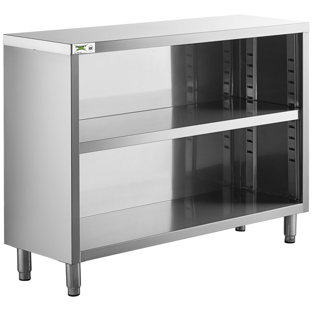 Regency 15 inch x 48 inch 18 Gauge Type 304 Stainless Steel Dish Cabinet with Adjustable Midshelf