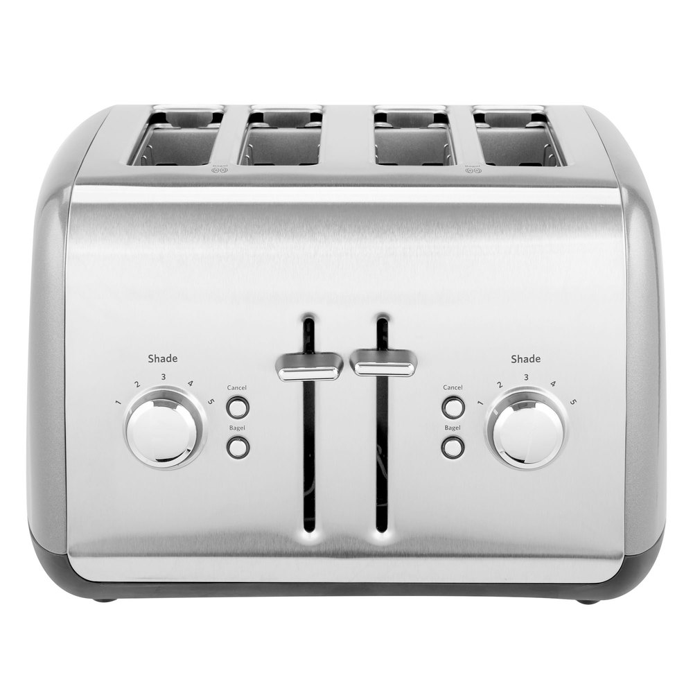 silver four slot pop-up toaster with dials and buttons