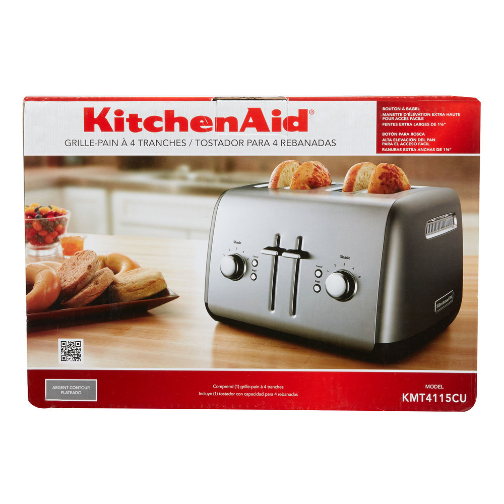 KitchenAid KMT4115CU Contour Silver Four Slice Toaster with Manual ...