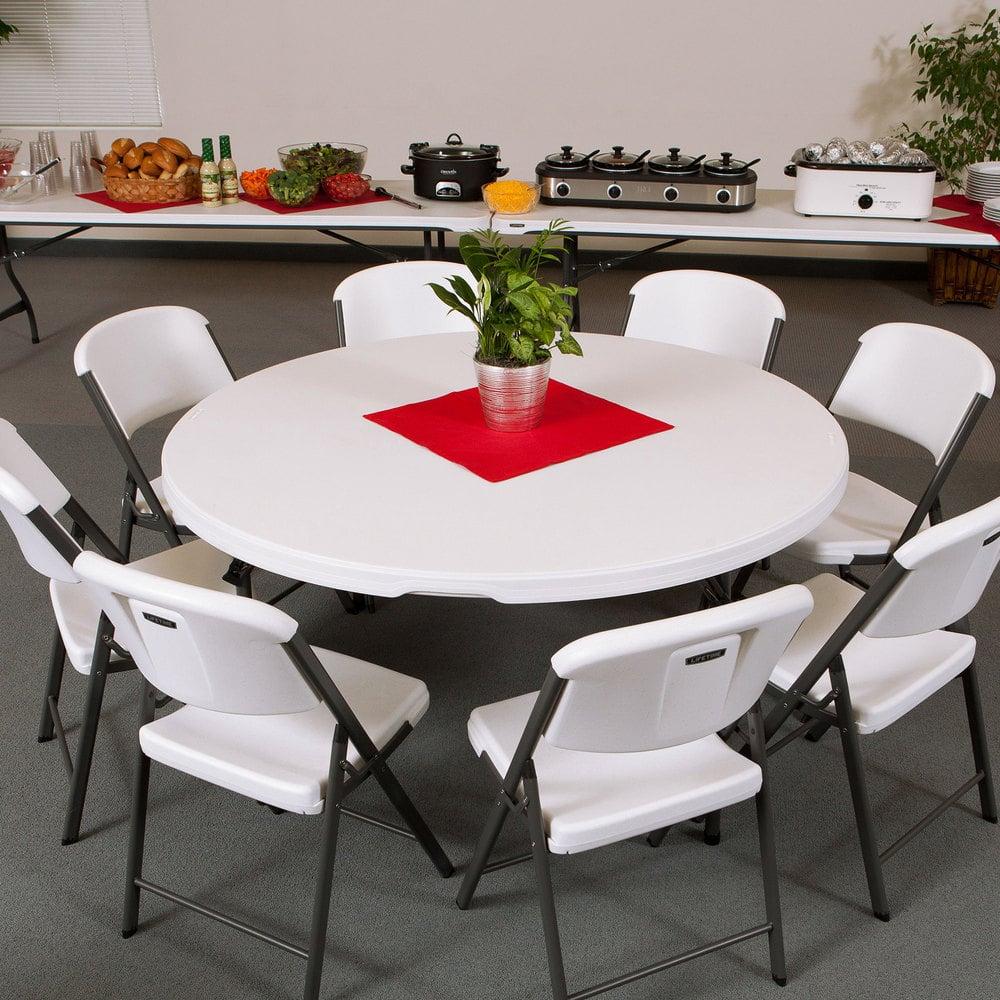 "Lifetime Round Folding Table 60"" Plastic White Granite 4 Pack"