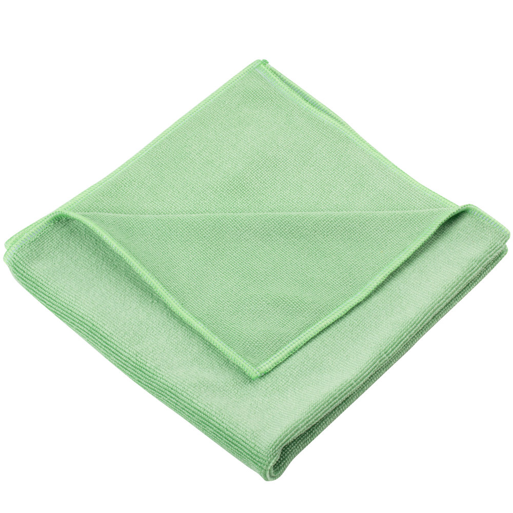 """Microfiber Cloth Guide: Unger MF400 SmartColor MicroWipe 16"""" X 15"""" Green Heavy"""