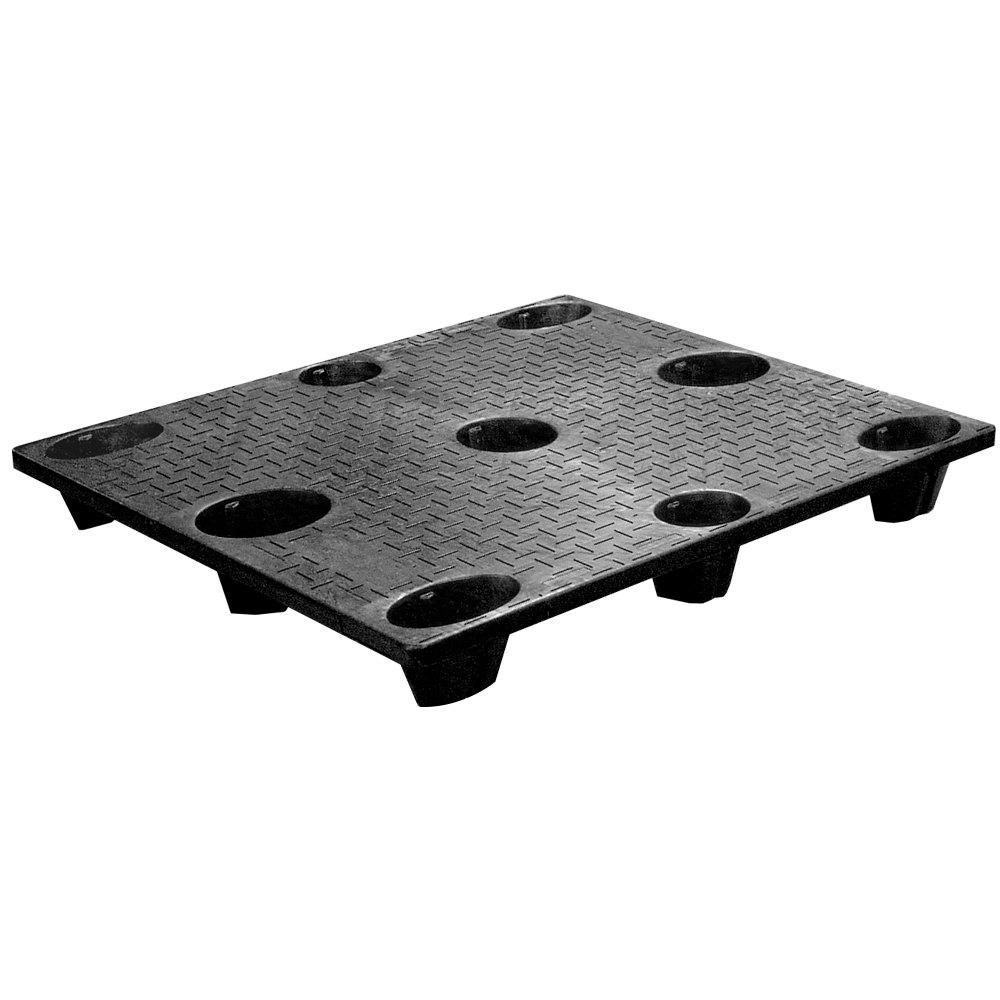 Regency 48 inch x 40 inch x 5 inch Black Plastic Nesting Pallet Base - 3000 lb. Capacity