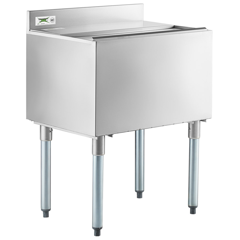 Regency 18 inch x 24 inch Stainless Steel Underbar Ice Bin with Sliding Lid and Bottle Holders - 77 lb.