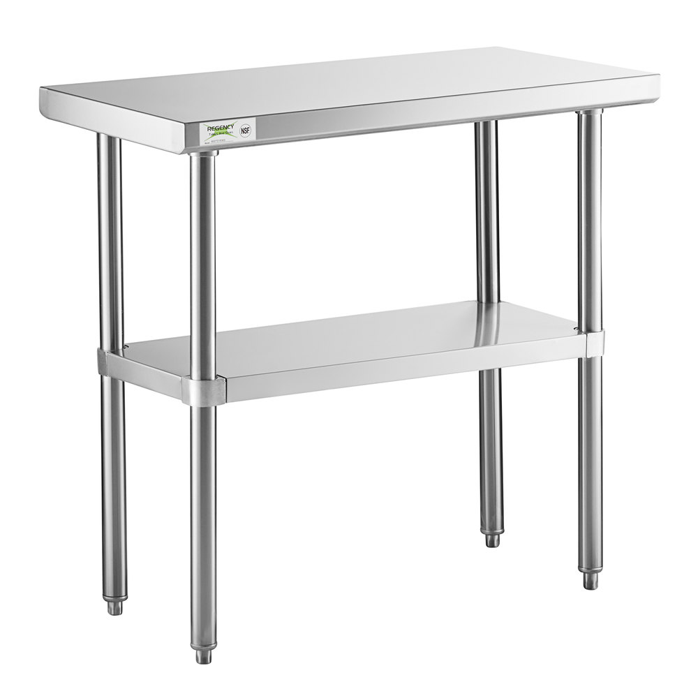 Regency 18 inch x 36 inch 16-Gauge 304 Stainless Steel Commercial Work Table with Undershelf
