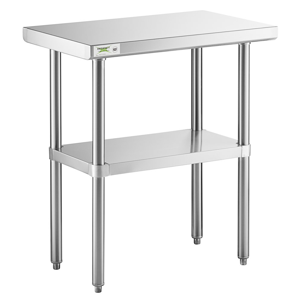 Regency 18 inch x 30 inch 16-Gauge 304 Stainless Steel Commercial Work Table with Undershelf