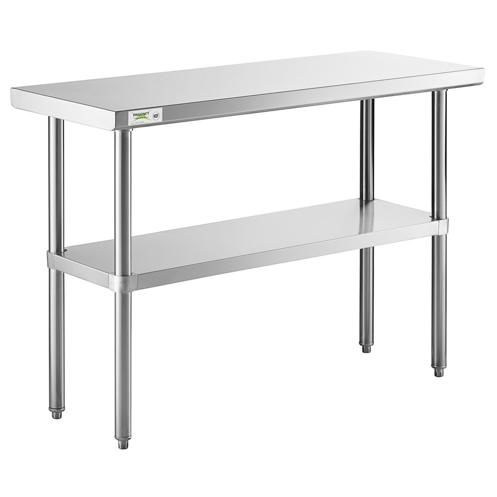 Regency 18 inch x 48 inch 16-Gauge 304 Stainless Steel Commercial Work Table with Undershelf