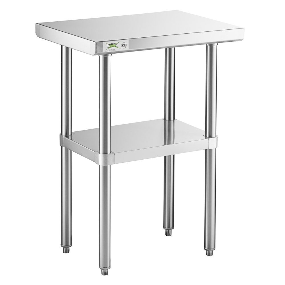 Regency 18 inch x 24 inch 16-Gauge 304 Stainless Steel Commercial Work Table with Undershelf