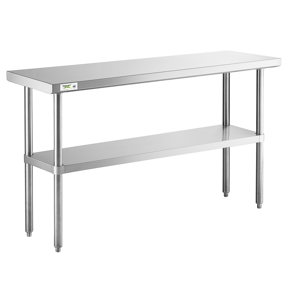 Regency 18 inch x 60 inch 16-Gauge 304 Stainless Steel Commercial Work Table with Undershelf