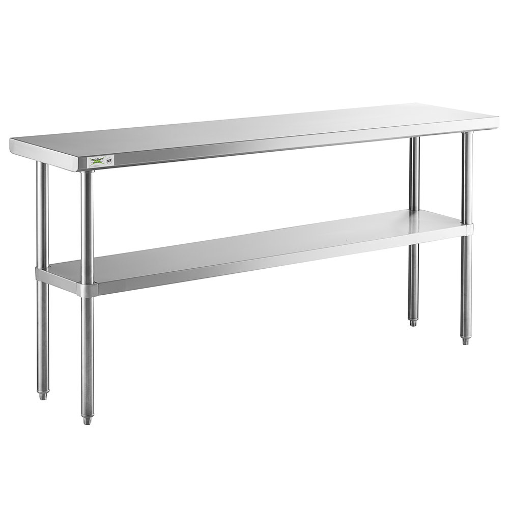 Regency 18 inch x 72 inch 16-Gauge 304 Stainless Steel Commercial Work Table with Undershelf