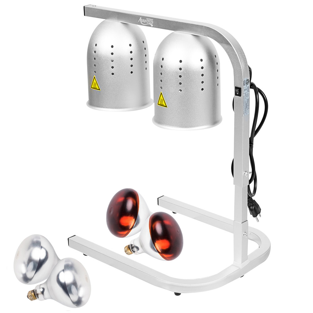 Avantco W62 Silver 2 Bulb Free Standing Heat Lamp Food Warmer With Red Bulbs 120v 500w