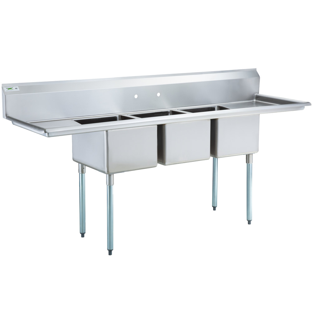 Regency 88 inch 16-Gauge Stainless Steel Three Compartment Commercial Sink with 2 Drainboards - 16 inch x 20 inch x 12 inch Bowls