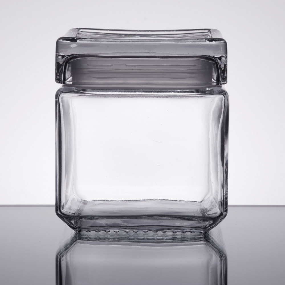 136c569369d Anchor Hocking 85587R 1 Qt. Clear Stackable Square Glass Jar - 4 Case