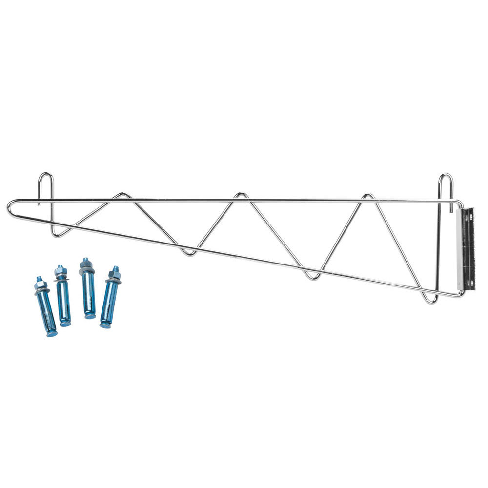 Regency 24 inch Deep Wall Mounting Bracket for Chrome Wire Shelving - 2/Set