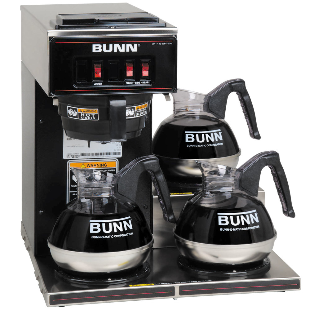 Bunn Coffee Maker Unplugged : Bunn 13300.0013 VP17-3 Low Profile Pourover Coffee Brewer with 3 Warmers