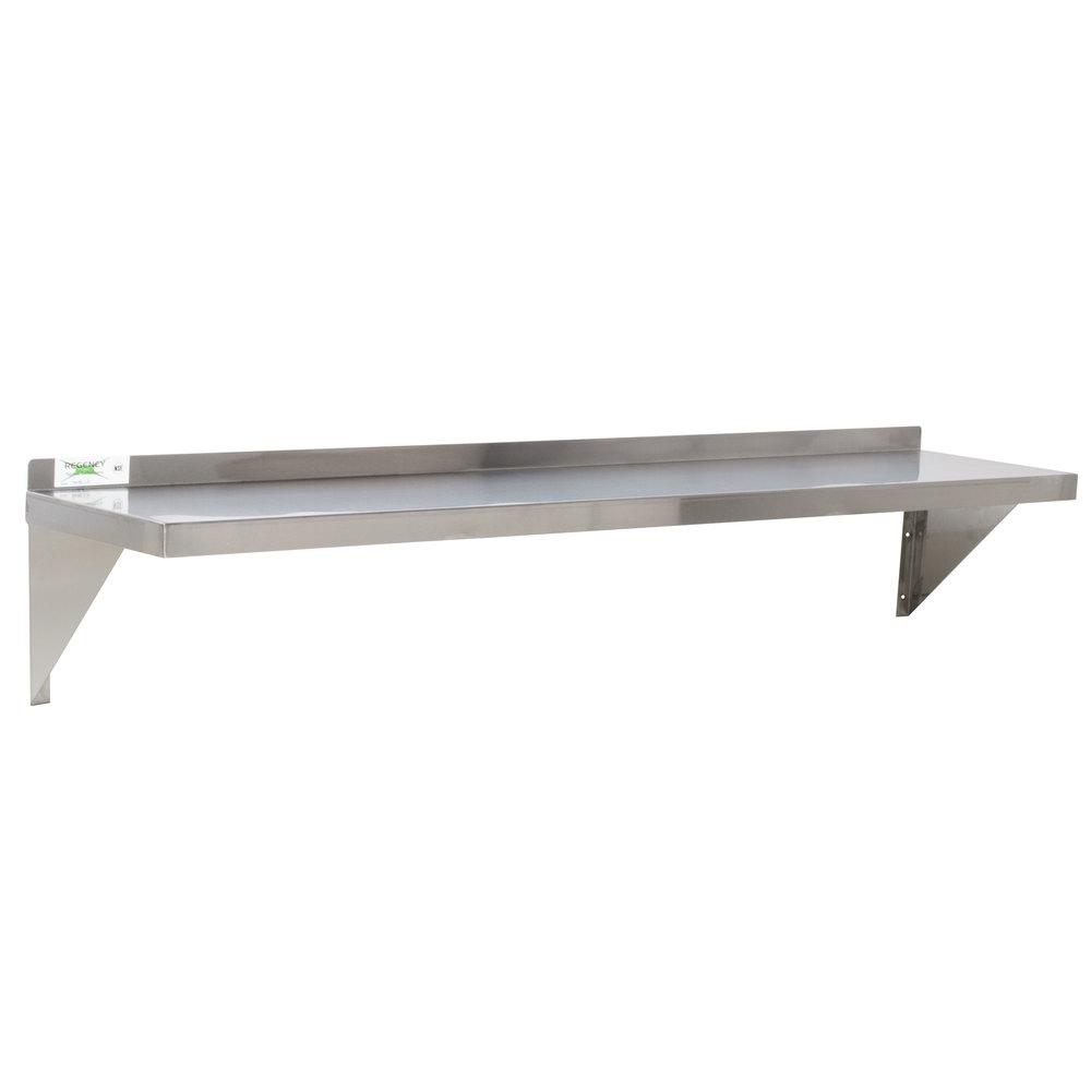 Regency 18 gauge stainless steel 12 inch x 48 inch solid wall shelf
