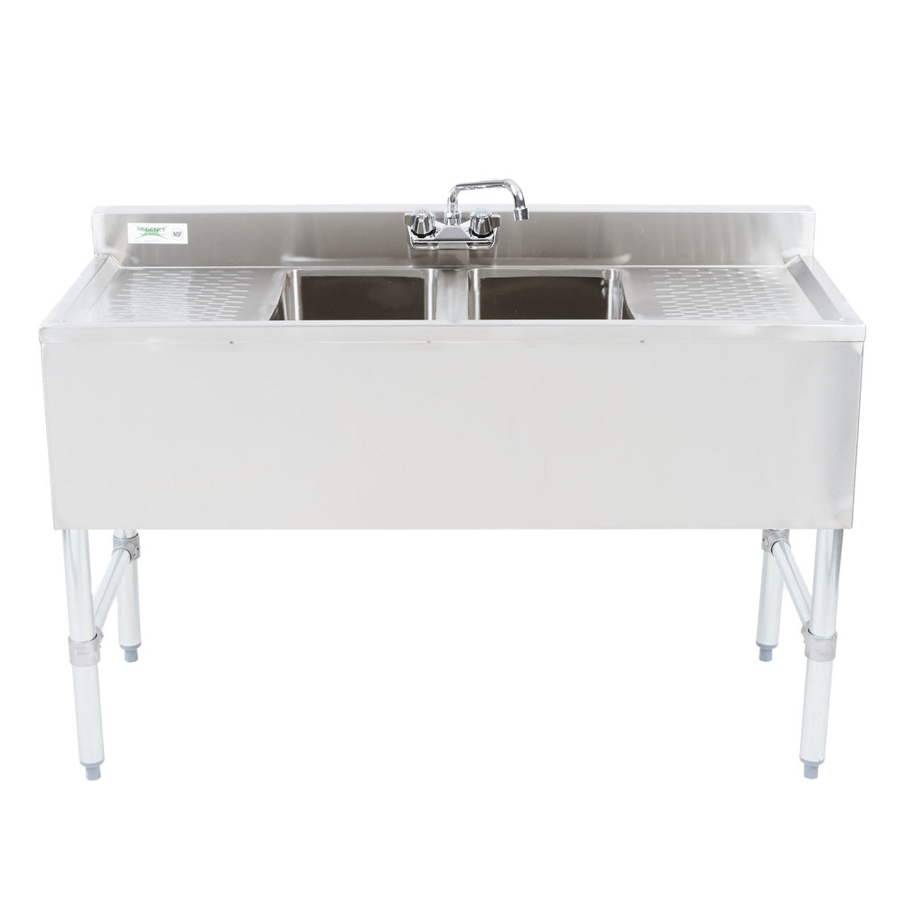 Regency 2 Bowl Underbar Sink with Faucet and Two Drainboards - 48 inch x 18 3/4 inch